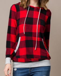 Red Buffalo Plaid Knit Hoodie
