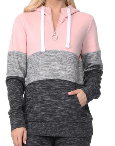 Blush Pink Color Block 3/4 Zip Hoodie