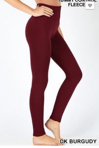 Fleece Dark Burgundy Leggings