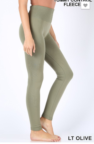 Fleece Lt Olive Leggings