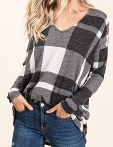 Charcoal Gingham Checker Tunic