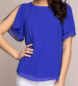 Capri Blue Open Sleeve Blouse
