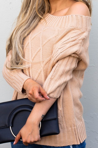 Beige Off the Shoulder Sweater