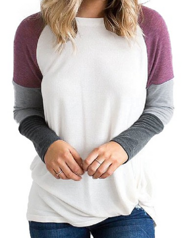 White/Black Sweatshirt Stitching Top
