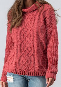 Rust Chunky Cable Knit Sweater