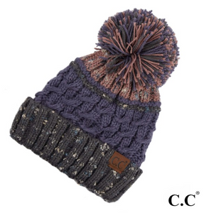 CC Denim Colored Hat with Pom