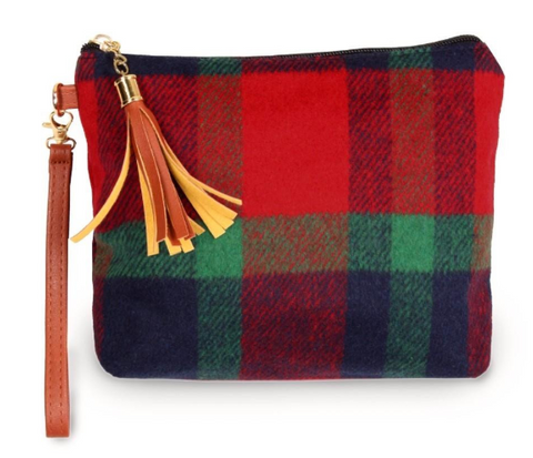 Navy Plaid Pouch Bag with Zipper