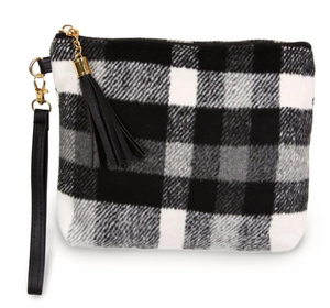 Black/White Pouch Bag with Zipper