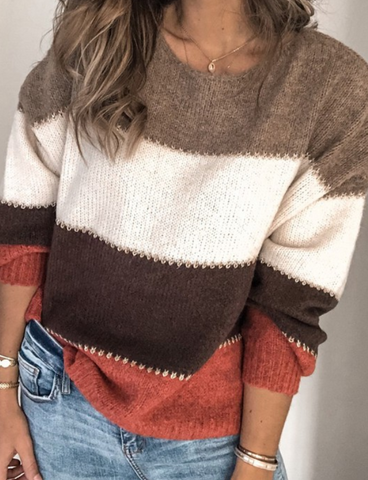 Brown Color Block Sweater