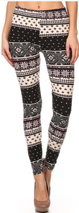 Black/White Christmas Leggings-One Size
