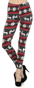 Black/Red Christmas Leggings-One Size