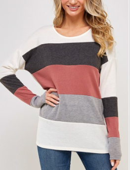 Mauve Color Block Sweater Top