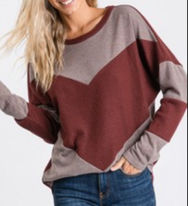 Burgundy Waffle Knit Color Block