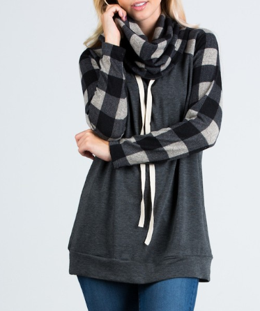 Grey/Black Plaid Sweatshirt-L
