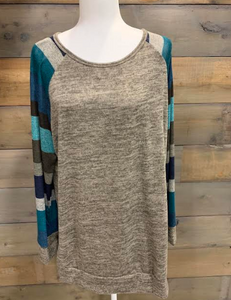 Blue Stripe Raglan Top