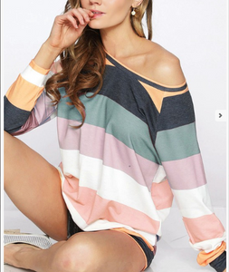 Sage Multi Color Striped Top