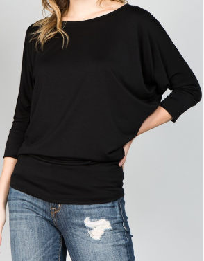 Black Wine Dolman Sleeve Top