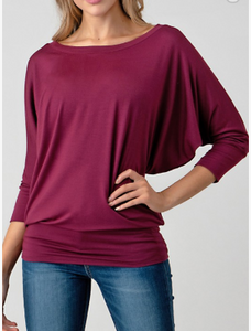 Apple Wine Dolman Sleeve Top