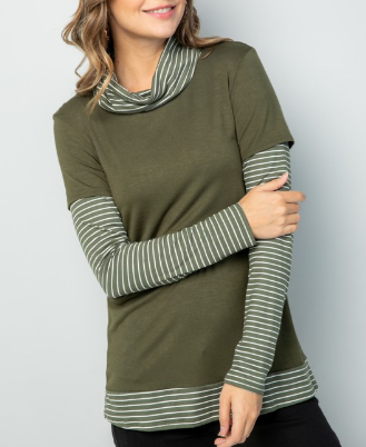 Olive Striped Turtle Neck Top