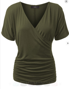 Olive Dolman Short Sleeve Top