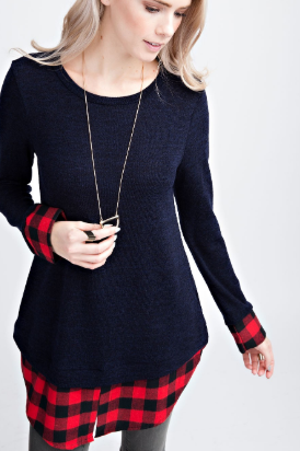 Black/Red Plaid Layered Top