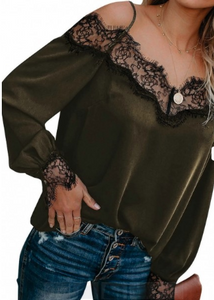 Olive Cold Shoulder Lace Top
