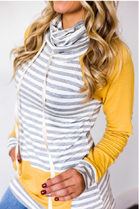 Yellow Funnel Neck Striped Hoodie