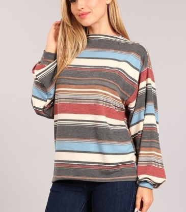 Stripe Print Bubble Sleeve Top
