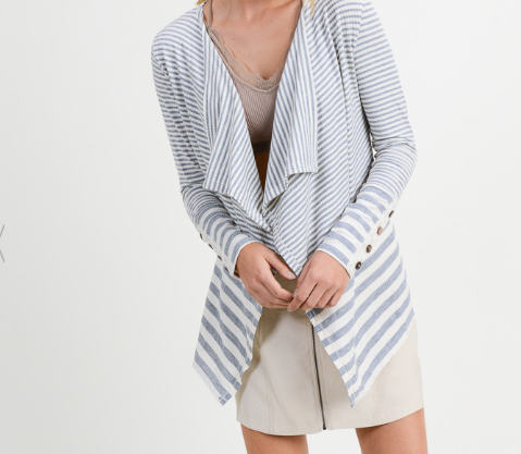 Striped Cardigan w/Crochet Button
