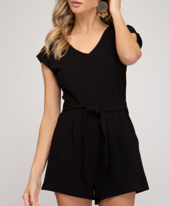 Black Knit Romper With Pockets