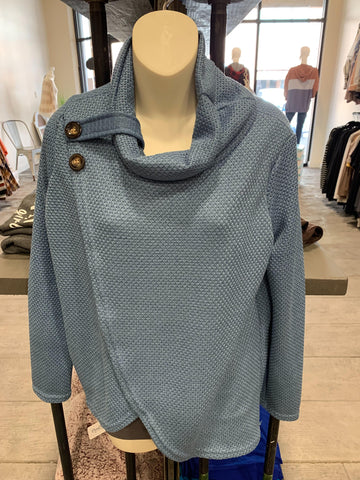Blue Turtle Sweater w/Button Detail