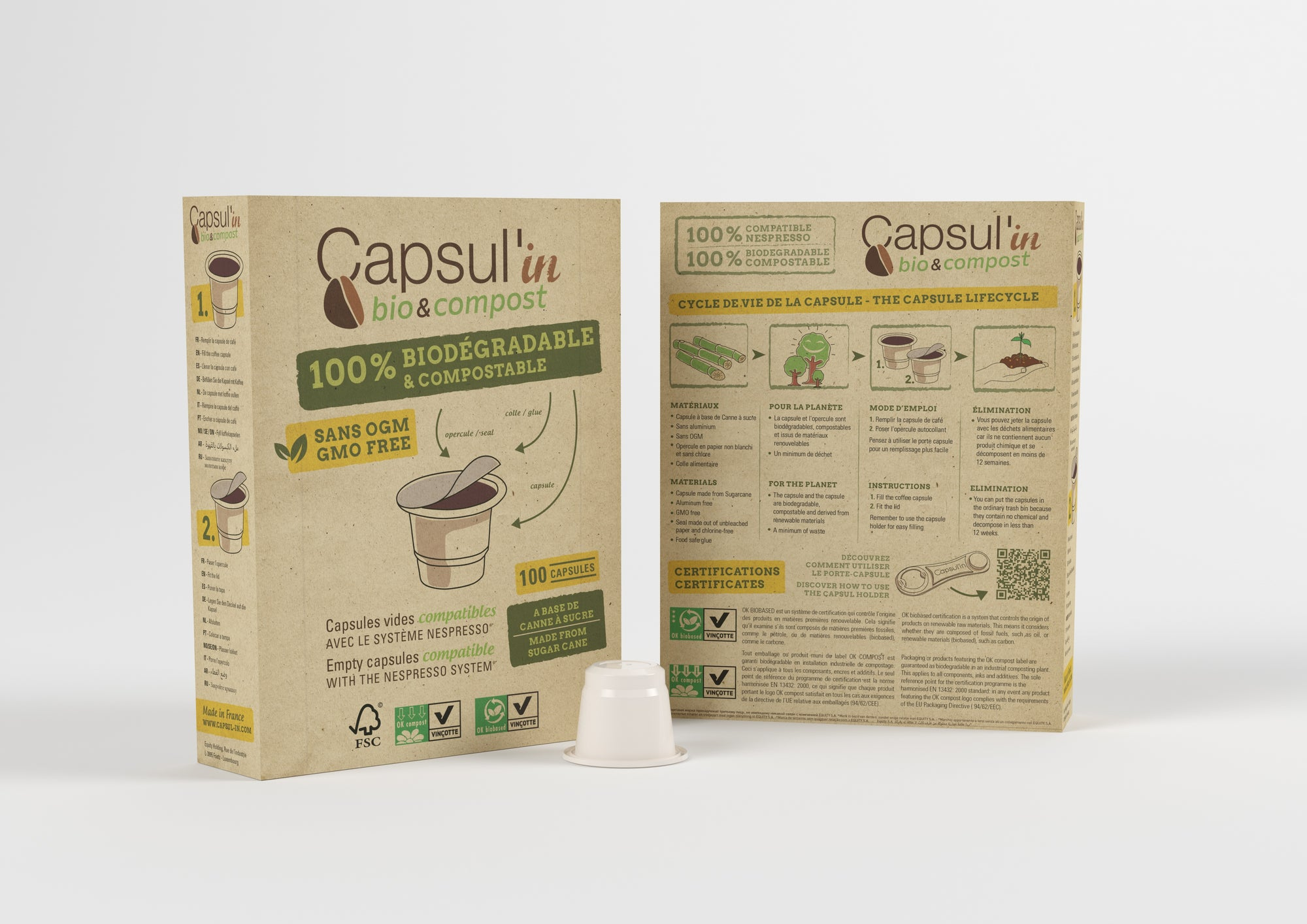D.I.Y. Set of 200 Capsul'in Biodegradable & Compostable Empty Capsules, 216 lids and 2 tamper/holder