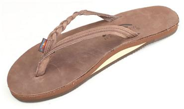 Rainbow Sandals (Womens) - Flirty Braidy eXpresso - Single Layer Premier Leather with Arch Support with a Braided Strap