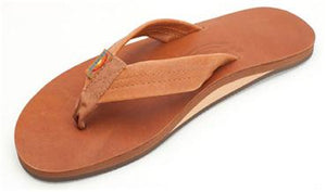 Rainbow Sandals (Mens) - Tan w/ Brown Single Layer Classic Leather with Arch Support