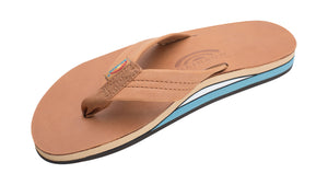 Rainbow Sandals (Mens) - Tan with Blue Midsole Classic Leather