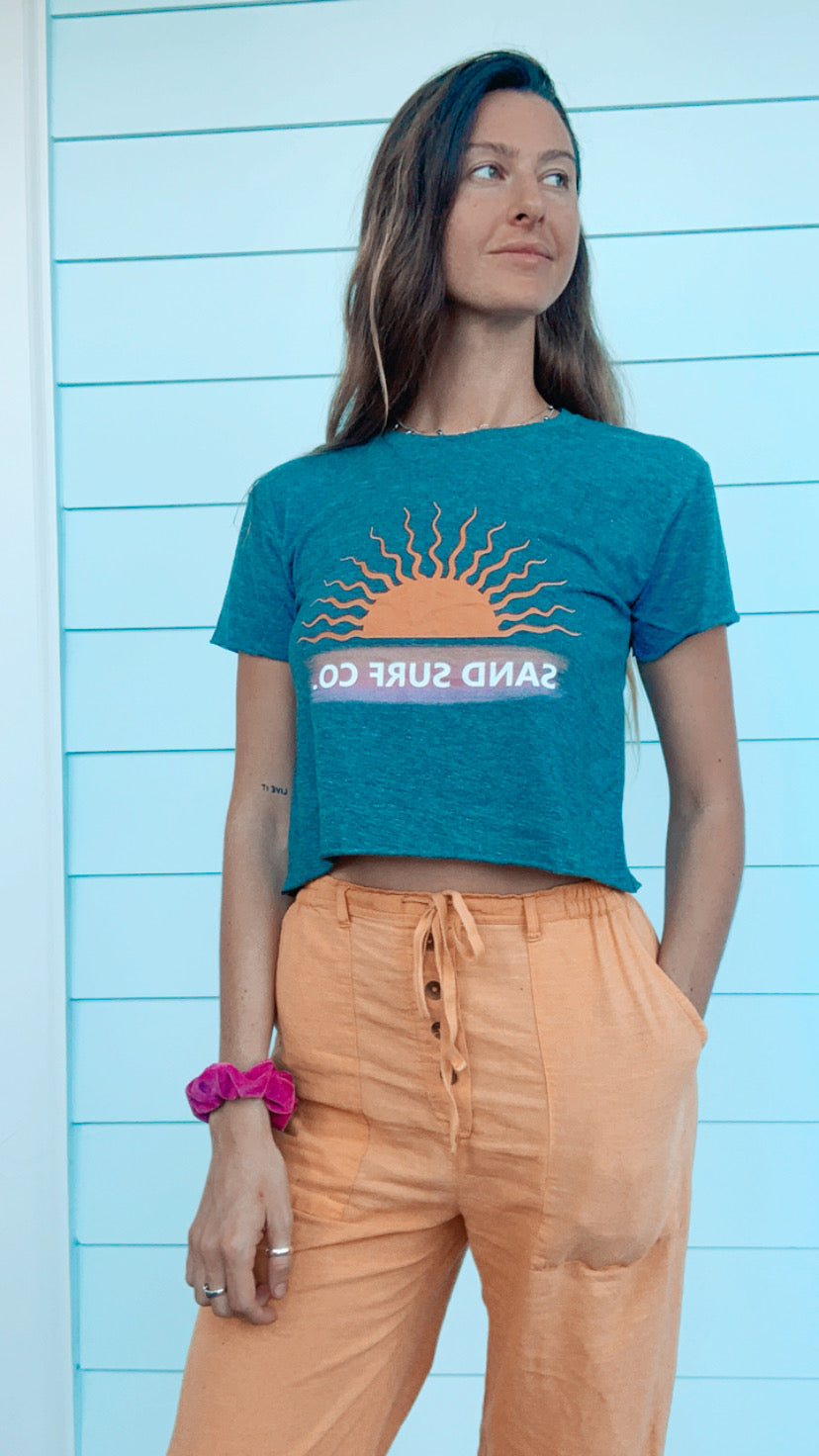 Sand Surf Co. Sunset Vibes Crop Tee