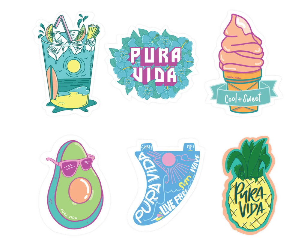 Pura Vida Cool and Sweet 6 Pack of Stickers