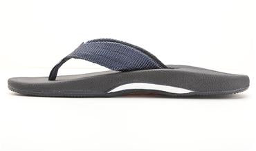 Rainbow Sandals (Mens) - Mariner Black Rubber Orthopedic with Arch Tapered Navy Blue Nylon Strap