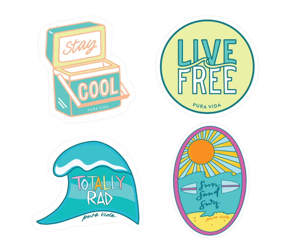 Pura Vida Surfer Girl 4 Pack of Stickers