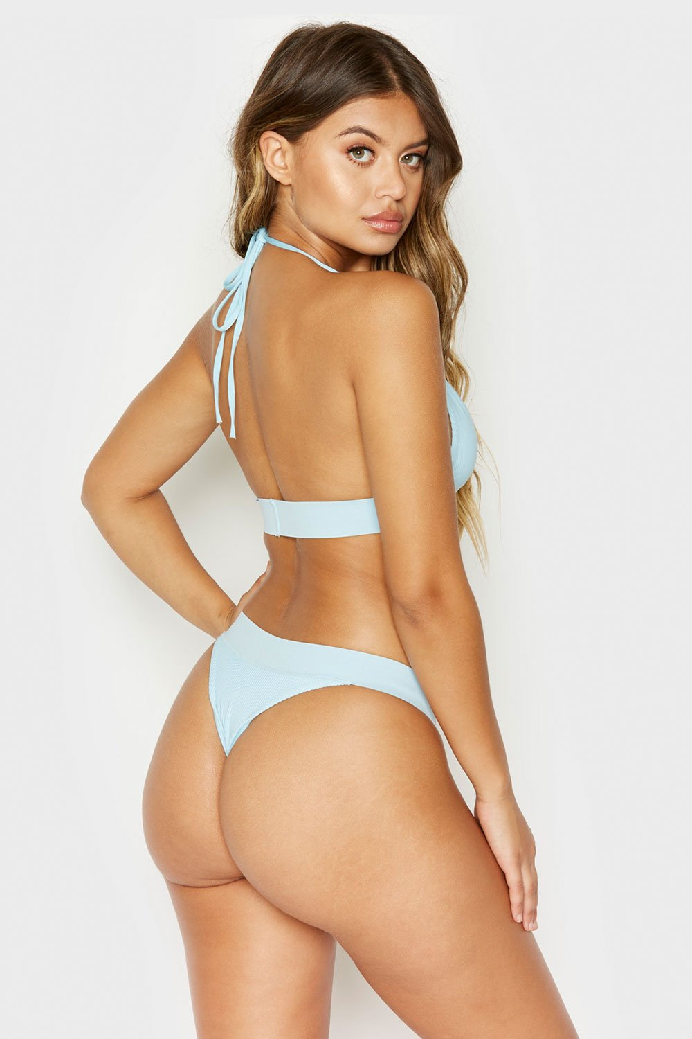Frankies Bikinis Winnie Ribbed Bottom - Powder Blue