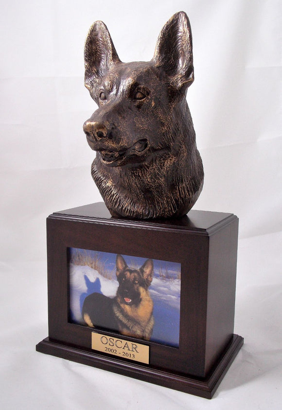 Bronze Bust German Shepherd Dog Photo Urn