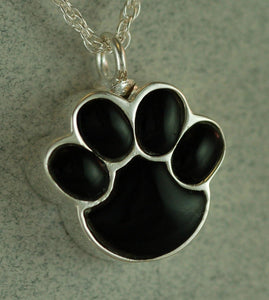 Onyx Paw Pet Cremation Jewelry Urn Pendant Silver