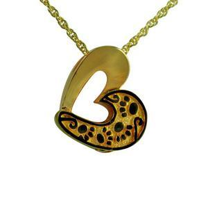 Paw Print Gold Plated Heart Cremation Jewelry Pendant Pet Urn