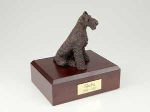 Airedale Bronze Dog Figurine Pet Cremation Urn