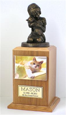 Always My Kitty Cat Pet Urn Oak