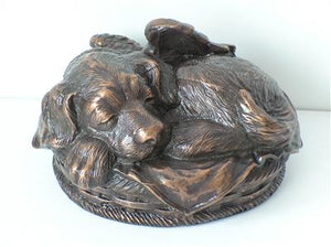 Sleeping Angel Dog Personalized Metallic Copper Urn