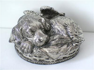 Sleeping Angel Personalized Dog Metallic Silver Urn