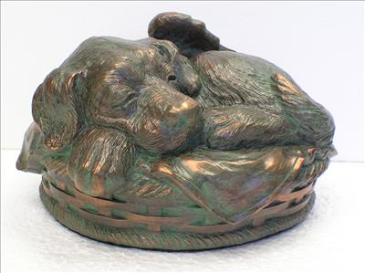 Sleeping Angel Dog Personalized Urn (Verdigris)