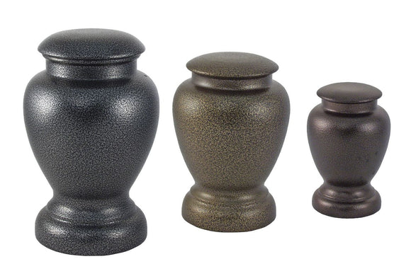 Antiqued Metal Vase Cremation Urns (Small)