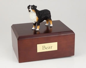 Australian Sheepdog (TriColor/docked) Figurine Urn